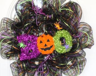 Halloween Wreath, Halloween Mesh Wreath, Wreath, Deco Mesh Wreath