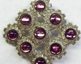 Vintage Large Purple Cabachon and Clear Rhinestone Brooch-  Free shipping
