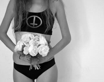 Antichrist bra-top, Dark lingerie, Upsidedown cross- S **FREE SHIPPING**