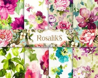 Watercolor Floral, Floral Paper, Digital Paper Pack, Floral Pattern, Floral Wallpaper, Watercolor paper
