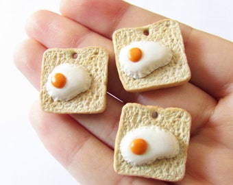 Toast & Eggs - Handmade Polymer Clay Charm
