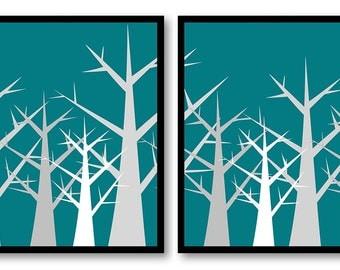 Tree Print Tree Wall Decor Grey and Green Turquoise Trees Abstract Tree Art Print Set of 2 Bathroom Modern Minimalist
