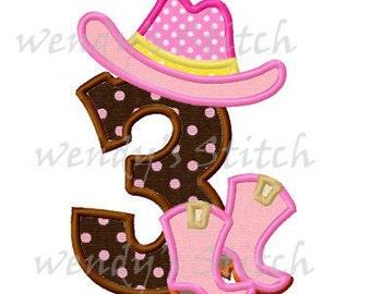cowboy applique birthday number 3 machine embroidery design