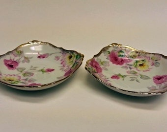 Pair of Vintage Trinket Dishes, Roses and Gold Trimmed, Cherry China, Japan