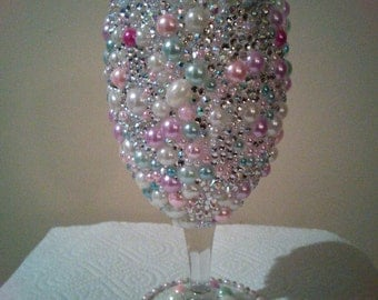 Bling Wine Glass, Bling Wedding Glasses, Party Glass, Party Favors,  Bachelorette Party Glass, Birthday Glass, Wedding Toasting Glasses
