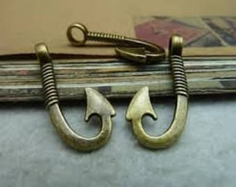 7 - Double Sided Bronze Fish Hook Charms