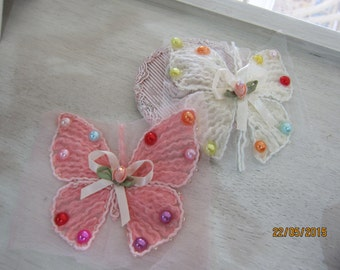 1pcs-Shabby Chic Butterfly Applique/NA36-Beaded Butterfly Applique/Applique/