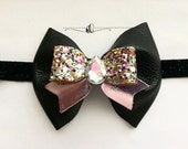 Black Leather Bow, Girls Black and Pink Leather Headband,Glitter Jeweled Headband,Halloween Headband, Fall Bow Hair Accessory,Back to school