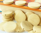 25mm Wood Blanks - Flat Wooden Beads - Wood Blanks - Unfinished Wood Blanks - Woodburning Blanks - Wood Burning Blanks - Diffuser Beads