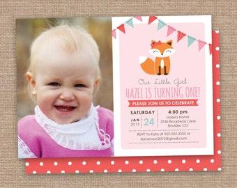 Girl Fox First Birthday Invitation Photo, Pink Aqua Brown, DIY Printable