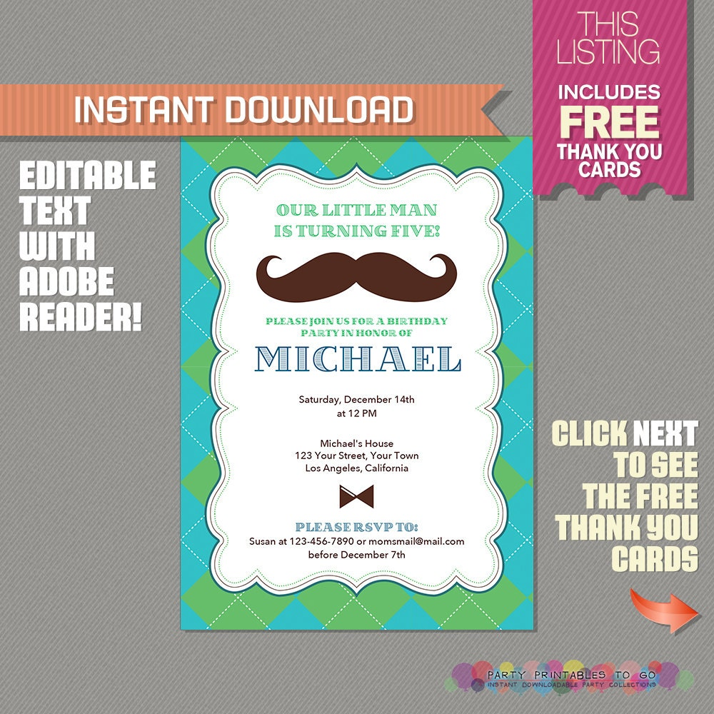 Little Man Invitation with FREE Thank you Card Mustache
