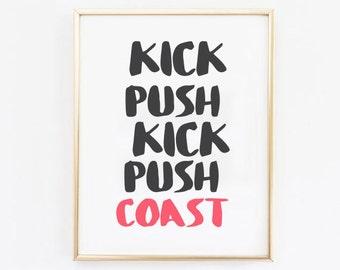 Kick Push Art Print / Music Print / Typography Wall Decor / Wall Art / Dorm Decor / Office Art / Hip Hop Art / Hip Hop Print / Skate Art