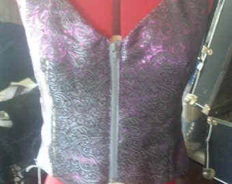 purple brocade lined vest