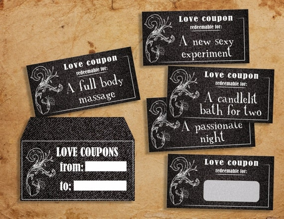Naughty Love Vouchers And Envelopes