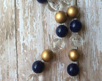 Navy and gold chunky bead necklace.. Chunky bead necklace.. Navy and gold necklace.. Girls necklace.. Toddler necklace