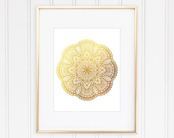 Mandala Art, Mandala Print, Faux Gold Foil Mandala, Mandala Wall Art, Geometric Wall Art, Geometric Print, Home Decor, Office Decor, Framed