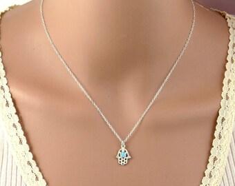 Silver necklace, Silver hamsa necklace,Silver opal necklace ,silver hand necklace,opal necklace,delicate silver necklace