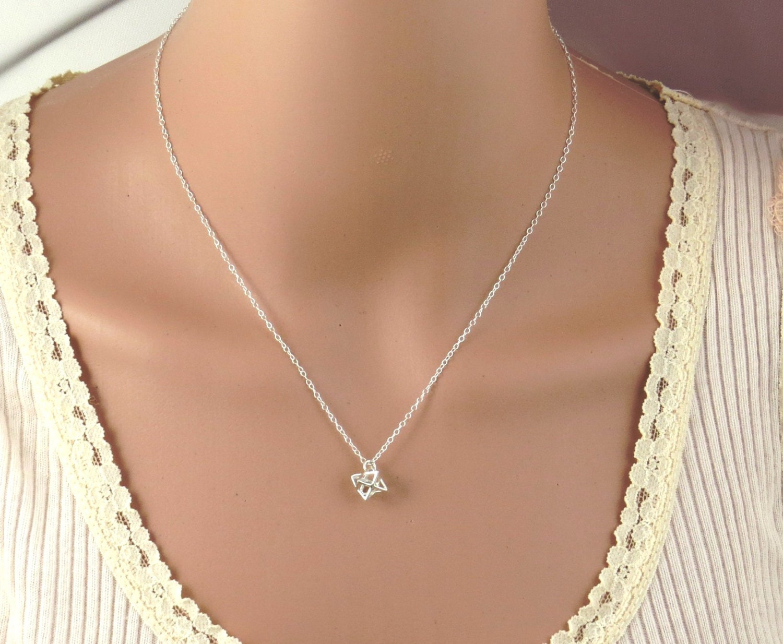 silver tiny necklace tiny merkaba necklace tiny of