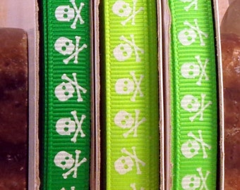 "2 Yards 3/8"" US Designer White Skulls Print on Shades of Green & Yellow Grosgrain Ribbon"