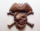 Pirate Decor ~ Pirate Skull and Bones ~ 3D Wooden Pirate Art ~ Skull and Crossbones ~ Pirate Hat ~ Pirate Wood Carving ~ 5 x 5 Oak Wood