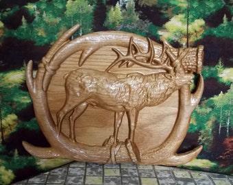 Elk WALL ANTLERS Elk Wooden Wall Decor ~ Wooden Wall Hanging ~ Elk Antlers ~ Elk Hunting Decor ~ 10x8 Inch ~ Hickory Wood ~ Wall Anters Elk