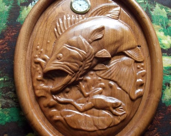 Large Mouth Bass Clock ~ WOOD WALL ART ~ Cabin Decor Fishing ~ Large Mouth Bass ~ 3D Wood Carving ~ Gift for Fisherman