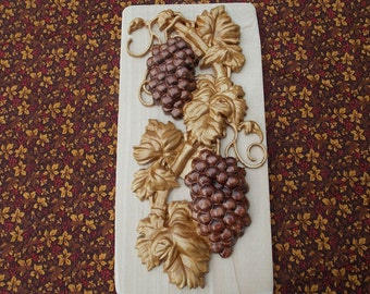 """Grapevine Rustic Kitchen Wall Applique Decor -  Wood Carving Wall Art - 10.5"""" x 5"""" Maple Wood - Grapevine Appliques - 5th wood anniversary"""