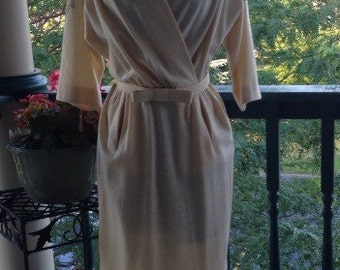 Vintage Carlye Wiggle Dress, cream wool embroidered dress, 50/60 fashion with pockets