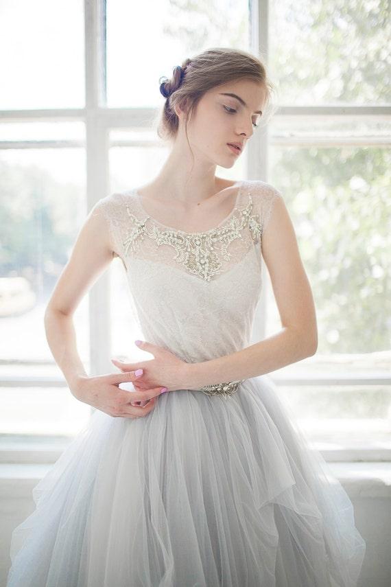 Tulle wedding gown gardenia 2 pieces bodysuit for Wedding dress bodysuit and skirt