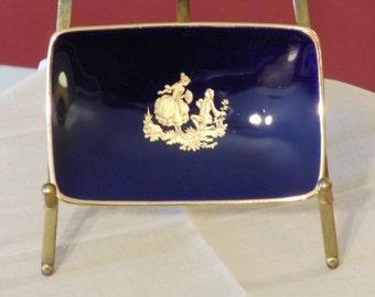 Porcelaine d'Art Limoges France Cobalt and Gold Trinket or Pin Dish