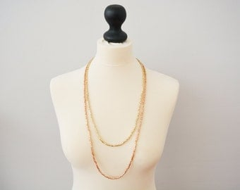 Layering necklace, long necklace, rose gold and yellow gold