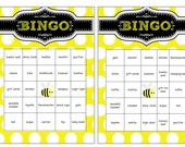 Bumble Bee 36 Printable Baby Shower Bingo Cards Prefilled with Baby Gift Words - Bumble Bee Baby Shower  Gift Bingo- Instant Download