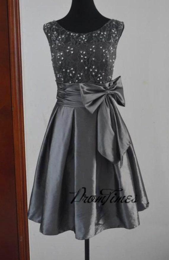 Grey Bridesmaid Dress Lace Bridesmaid Dress Short Bridesmaid