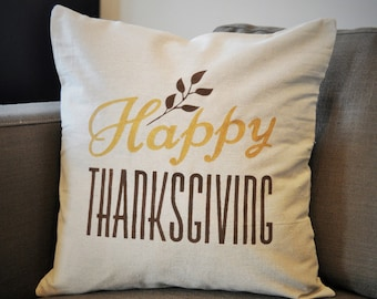 Fall Pillow Cover, Thanksgiving pillow cover, Fall Decor, Happy Thanksgiving, Leaves, Gold, Thanksgiving decor