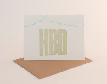 HBD happy birthday letterpress card