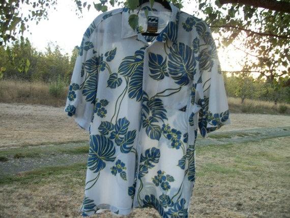 a big soft mens retro aloha hawaiian shirt w tropical leaves