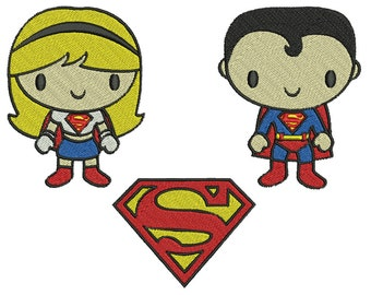 Superman & Superwoman - Machine Embroidery - 3 Patterns in 3 Sizes - Instant Digital Download