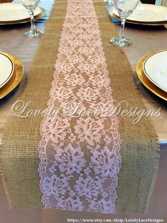 Wedding Decor Burlap Lace Table Runner With Rose Pink Dusty
