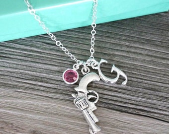 Gun Necklace, Hand Gun Necklace, Pistol Necklace, Silver Pistol Necklace, Letter Birthstone Personalized, Cowgirl Necklace, Western Necklace