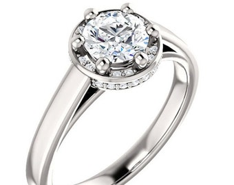 Forever One Moissanite Engagement Ring, Ethical Diamonds, 18K White Gold, Halo Style Setting