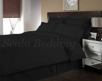 100% Egyptian Cotton 1000-TC Bedding Full/Queen 3pc Duvet Cover Set Black Stripe