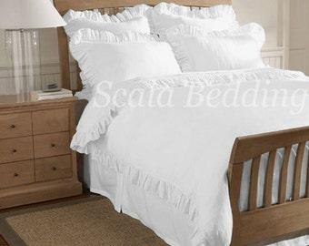 Edge Ruffle Duvet Cover Set 800TC White 100% Egyptian Cotton Select Size