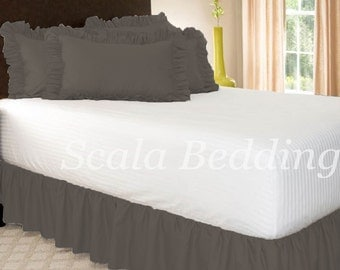 1000TC Dust Ruffle Bed Skirt 100% Egyptian Cotton Grey Select Size