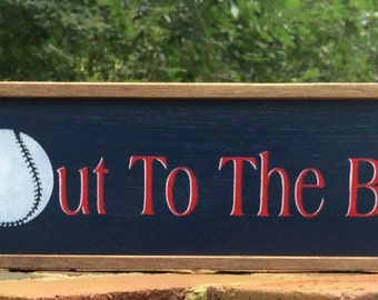 """Baseball Sign.  """"Take Me Out to the Ball Game"""".  For the Red Sox, Twins, Indians, Braves, Nationals Fans!"""