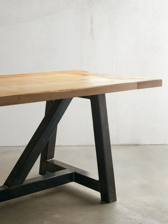 Industrial Modern Solid Maple Top Dining Table By TheWhiteShanty