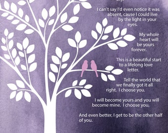 Sara Bareilles I Choose You Watercolor Wedding Tree w/Love Birds on Branch/Bridal Shower Gift/ Groom to Bride Gift/Bride to Groom Gift-8x10+