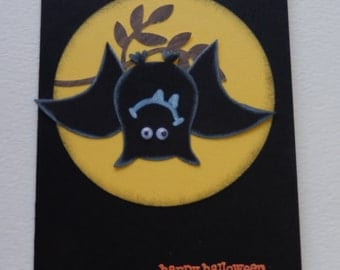 Upside Down Bat Halloween Card