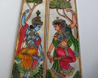 Radha-krishna 25 inches tall Leather hand painted lamp shade