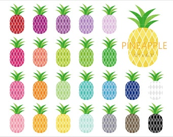 gold pineapple clipart. 24 pineapple clipart, colorful rainbow color fruit, clip art, png, printable planner gold clipart e