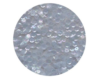 6mm Cup Sequins Facet Paillettes Pale Blue Crystal Rainbow Iridescent